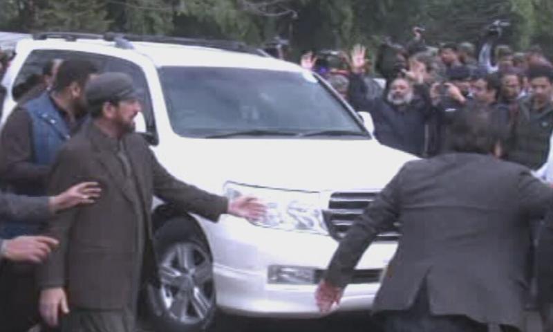 PPP chairperson Bilawal Bhutto Zardari arrives at  National Accountability Bureau's (NAB) old headquarters in Rawalpindi on Thursday. — DawnNewsTV