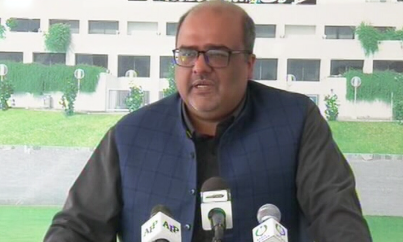 Special Assistant to Prime Minister on Accountability Shahzad Akbar addressing a press conference on Thursday. — DawnNewsTV