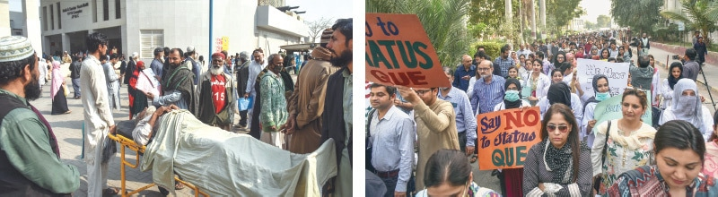 A patient along with his attendants waits outside the health facility while (right) JPMC doctors stage a protest on Thursday.—White Star