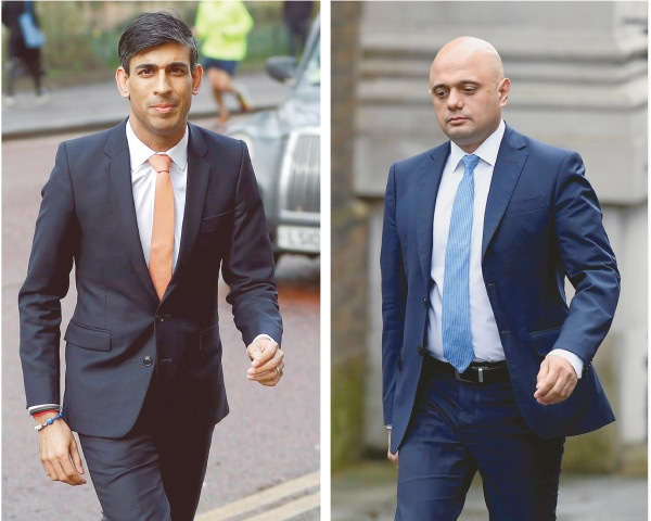 THIS combo shows Britain's new Chancellor of the Exchequer Rishi Sunak at the Treasury in London and (right) Sajid Javid at the Downing Street on Thursday.—Reuters