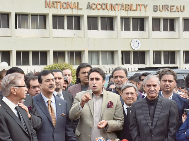 ISLAMABAD: Pakistan Peoples Party chairman Bilawal Bhutto-Zardari speaks to reporters after appearing before NAB on Thursday.—Tanveer Shahzad / White Star