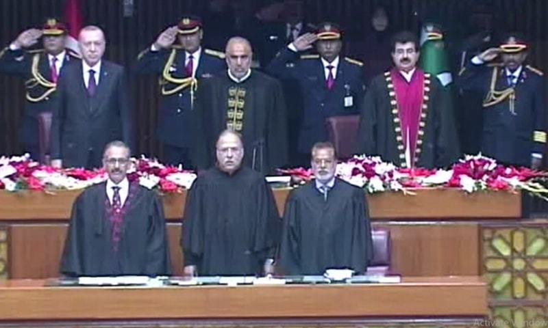 Turkish President Recep Tayyip Erdogan with National Assembly Speaker Asad Qaiser and Senate Chairman Sadiq Sanjrani at the joint session of Parliament on Friday. — DawnNewsTV