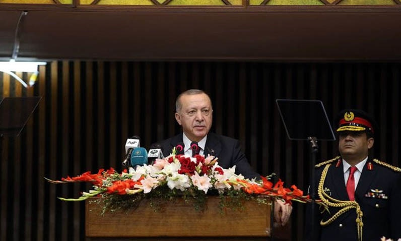 Turkish President Recep Tayyip Erdogan addressed the joint session of Parliament on Friday. — Photo courtesy Radio Pakistan
