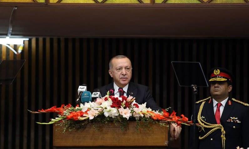 Turkish President Recep Tayyip Erdogan addressed the joint session of Parliament on Friday. — Photo courtesy Radio Pakistan
