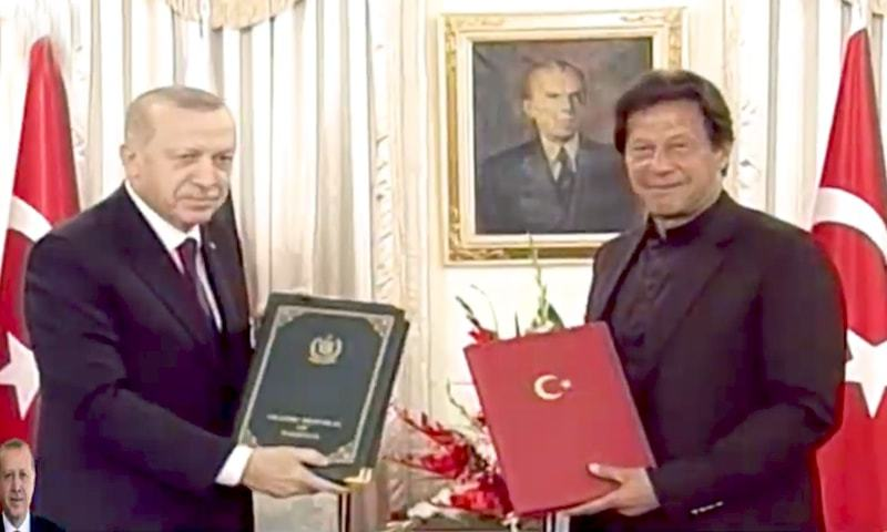 The MoUs signing ceremony was witnessed by Turkish President Recep Tayyip Erdogan and PM Imran Khan. — DawnNewsTV