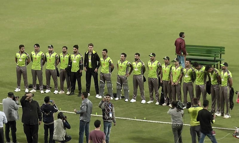 Lahore Qalandars arrive in the Gaddafi Stadium before the match. — Photo courtesy Geo Super