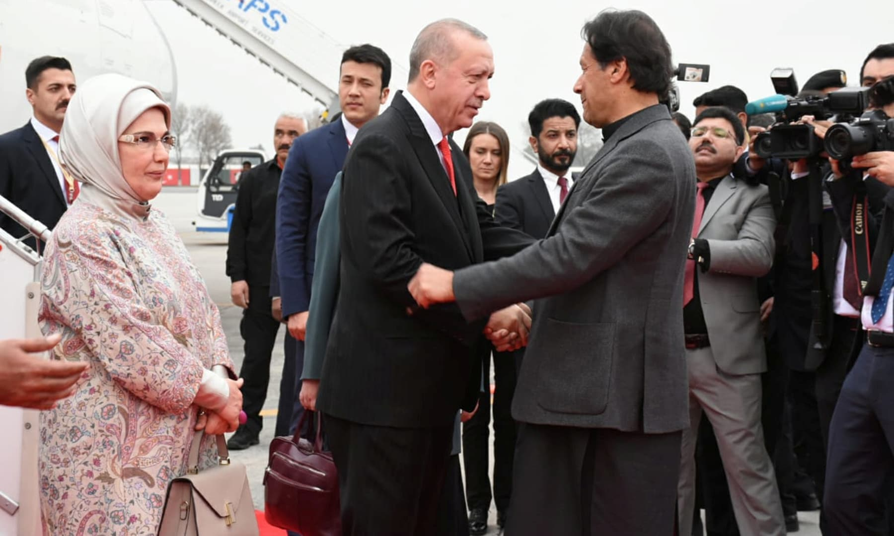 Prime Minister Imran Khan receives Turkish President Tayyip Erdogan on his arrival in Islamabad, February 13. — Reuters