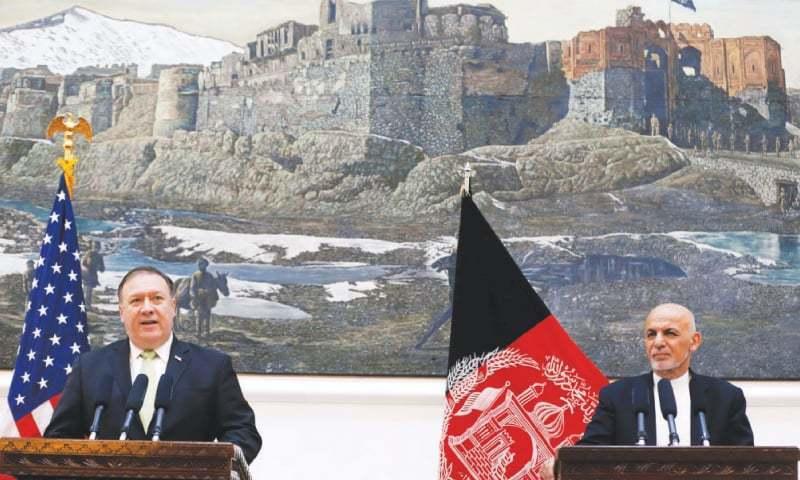 امریکا کے  سیکریٹری آف اسٹیٹ مائیک پومپیو کی افغان صدر اشرف غنی سے میونخ میں ملاقات ہوئی — فائل فوٹو:رائٹرز