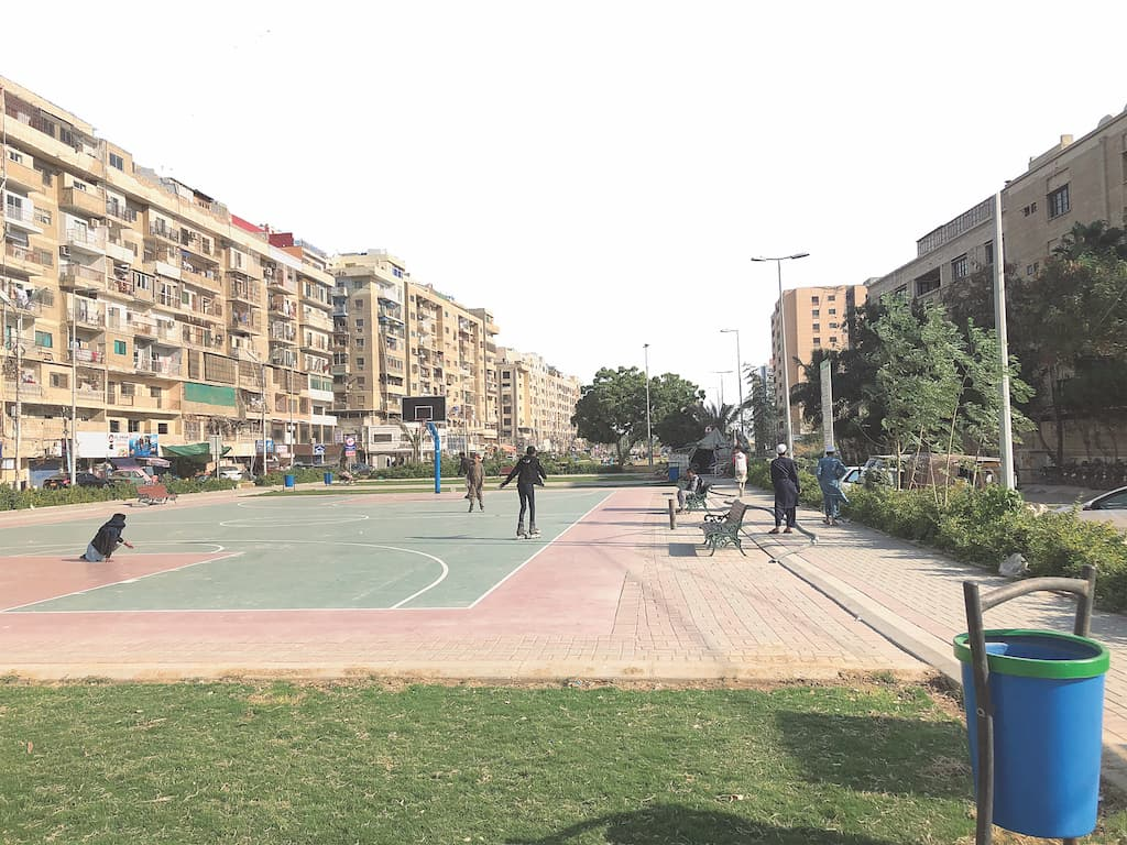 A basketball court at a public park in Clifton | Ghania Shams Khan
