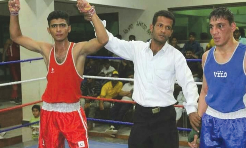 Young Naseeb Ahmed after one of his victories