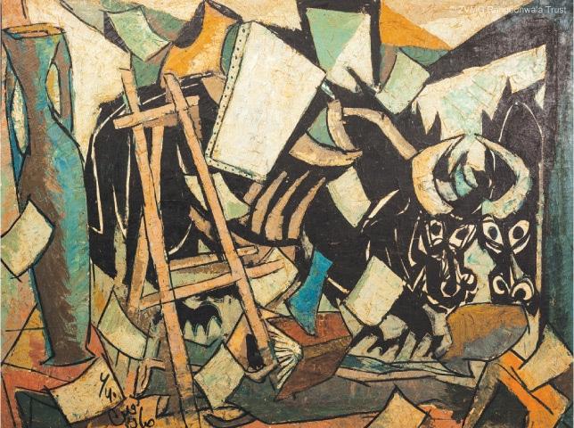 Bull In Studio Mirror, Sadequain