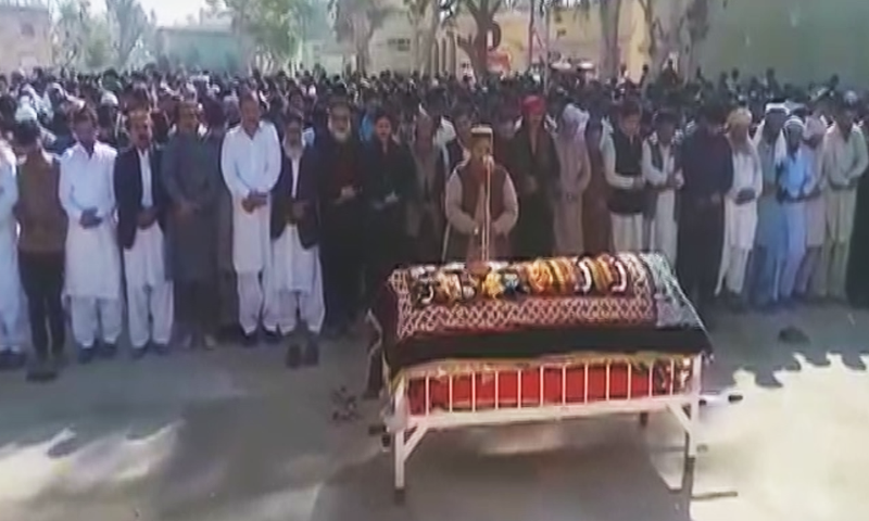 Slain PPP MPA Shahnaz Ansari was laid to rest in Sindh's Naushahro Feroze district on Sunday. — DawnNewsTV