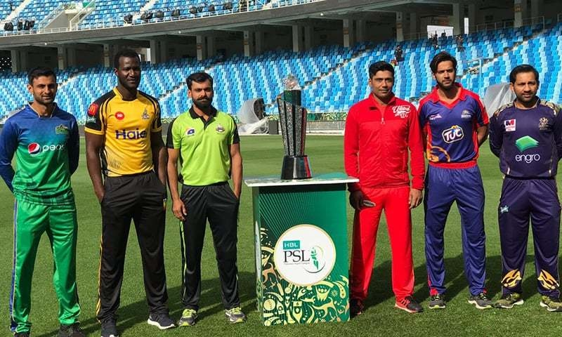 Captains of the six participating teams at the unveiling ceremony of the PSL 2019 trophy in Dubai. The trophy's inauguration ceremony will be held in Pakistan for the first time on February 19. — Dawn/File Photo