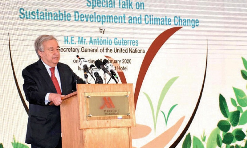 UN Secretary General Antonio Guterres speaks at the conference in Islamabad on Sunday. — INP