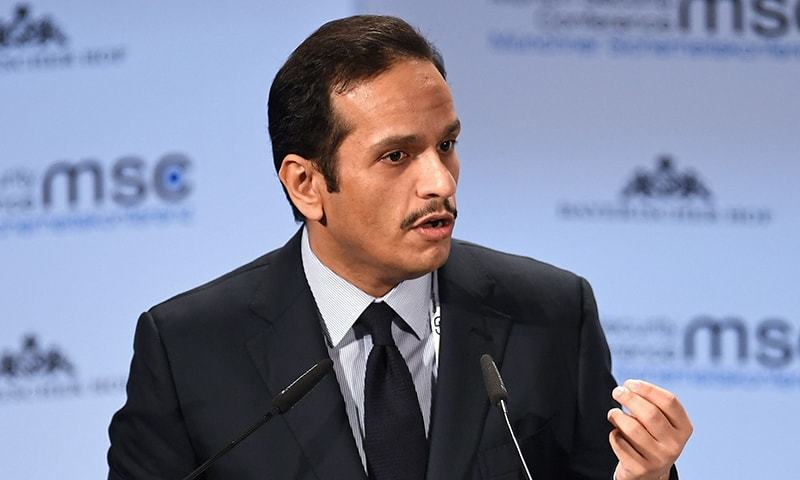 FILE PHOTO: Qatar's Foreign Minister Sheikh Mohammed bin Abdulrahman Al-Thani speaks during the annual Munich Security Conference in Munich, Germany February 17, 2019. REUTERS/Andreas Gebert/File Photo