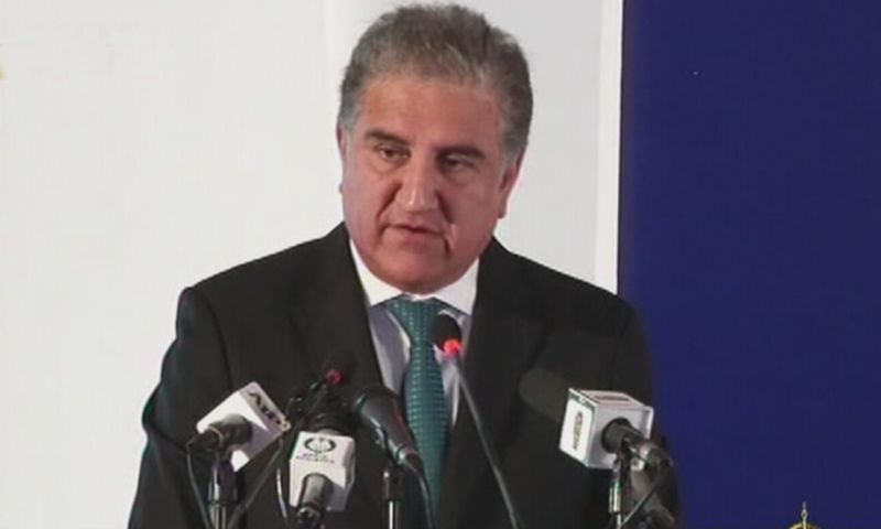 Minister for Foreign Affairs Shah Mahmood Qureshi addressing the conference. — DawnNewsTV