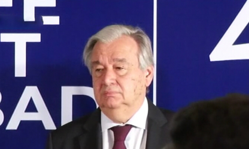 United Nations Secretary General Antonio Guterres at the conference in Islamabad. — DawnNewsTV.