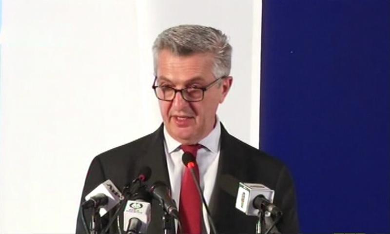 UN High Commissioner for Refugees Filippo Grandi addressing the conference. — DawnNewsTV