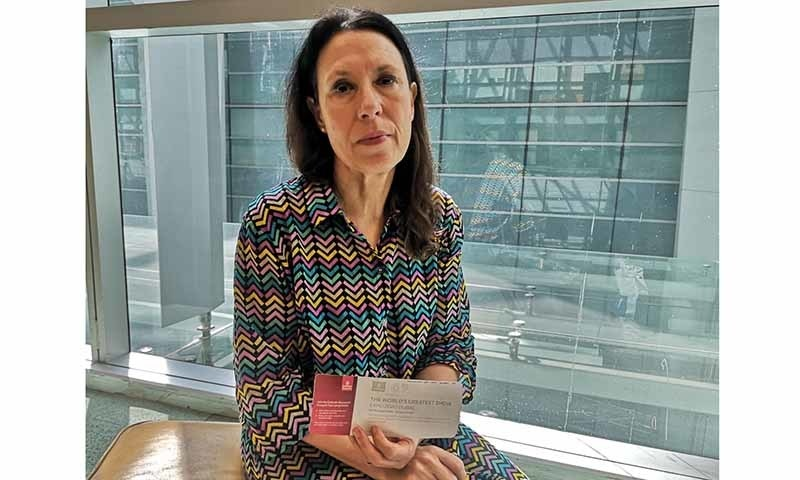 This photograph provided by Harpreet Upal, an accompanying aide of British Member of Parliament Debbie Abrahams shows Abrahams at the Indira Gandhi International Airport in New Delhi, India, on Monday. — Harpreet Upal via AP