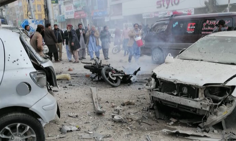 Several vehicles parked in the vicinity were damaged due to the impact of the blast. — DawnNewsTV