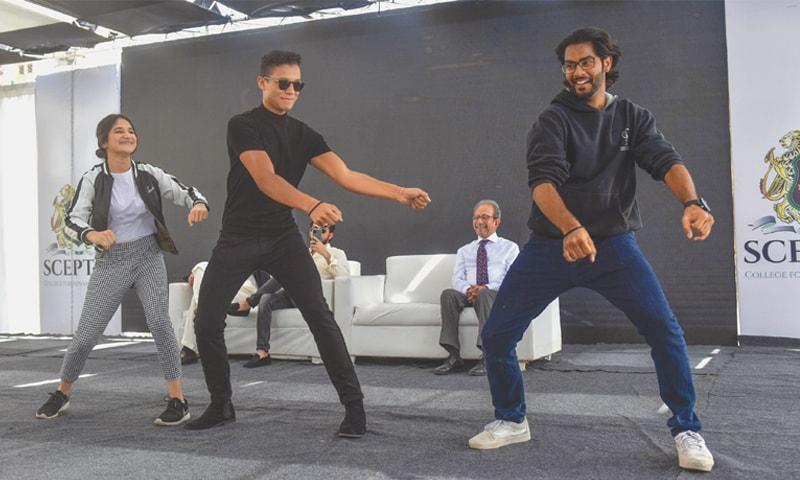 Jaafar Jackson (centre) busts a move on Monday.—Fahim Siddiqi/White Star