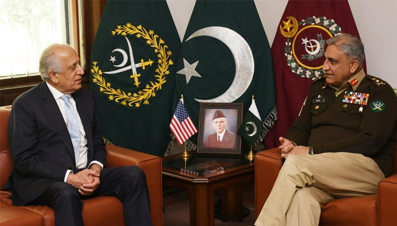 RAWALPINDI: Chief of the Army Staff Gen Qamar Javed Bajwa speaks to US Special Representative for Afghan Reconciliation Zalmay Khalilzad who called on him at the General Headquarters on Monday.