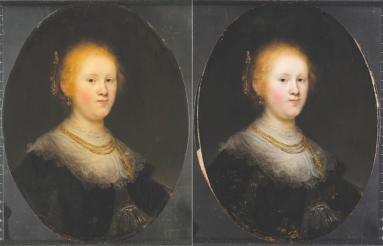 This combo provided by Allentown Art Museum shows a painting, Portrait of a Young Woman, (left) before and after the restoration.—AP