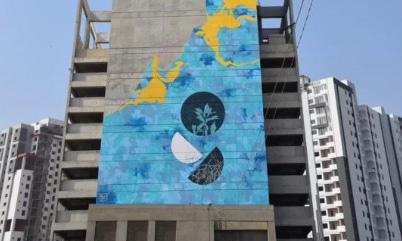 The Rising Blue mural. — Photo courtesy Waleed Khan / I Am Karachi