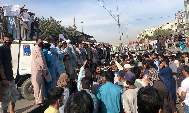 Residents protest government's silence in Jackson Market. — Photo by Shahzeb Ahmed