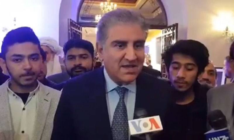 Foreign Minister Shah Mahmood Qureshi speaks to reporters after the conclusion of a conference in Islamabad on Tuesday. — Photo Courtesy Radio Pakistan.