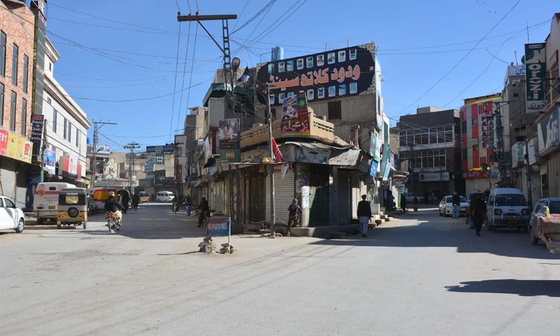 QUETTA: A view of closed shops in a market during the strike on Tuesday.—INP