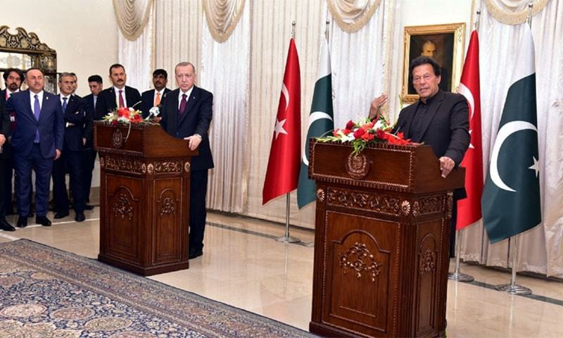 Prime Minister Imran Khan and Turkish President Tayyip Erdogan addressing a press conference during the latter's recent trip to Pakistan. — AFP/File