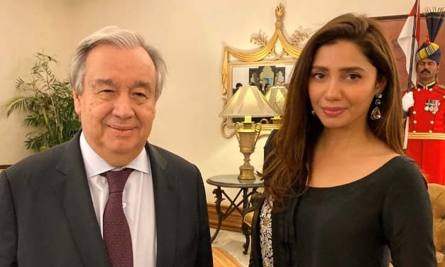 The UN Chief also met Mahira Khan in her capacity as Pakistan's UNHCR goodwill ambassador. — Photo courtesy: Guterres's Twitter