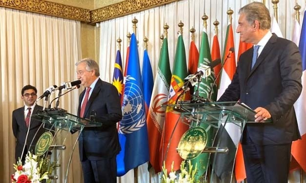 """I am closely following vital peace efforts in Afghanistan to reduce violence, especially against civilians,"" the UN chief said while addressing a joint press conference with Foreign Minister Shah Mahmood Qureshi.— Photo courtesy: Guterres's Twitter"