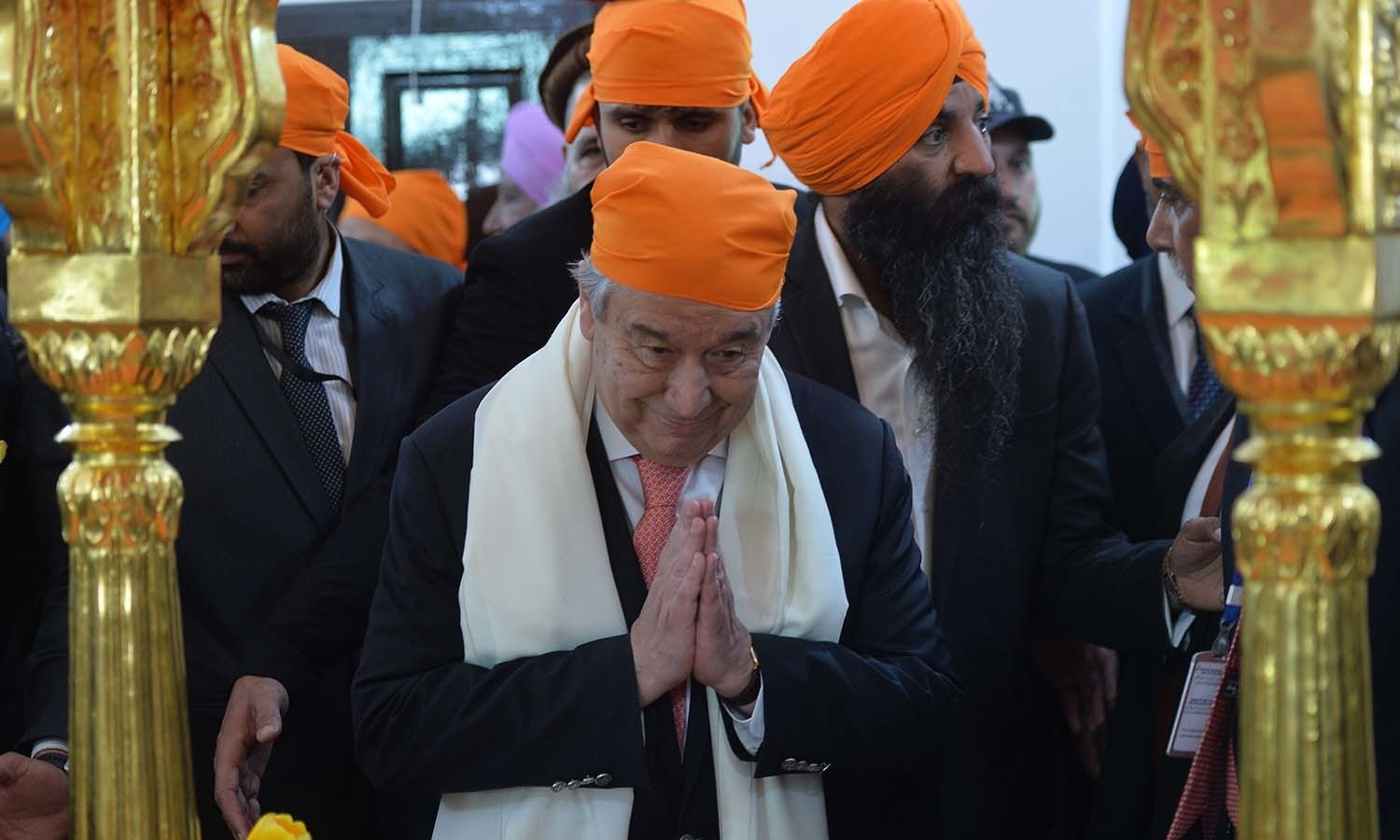 Guterres pays his respects during a visit to the Sikh Shrine of Baba Guru Nanak Dev. — AFP