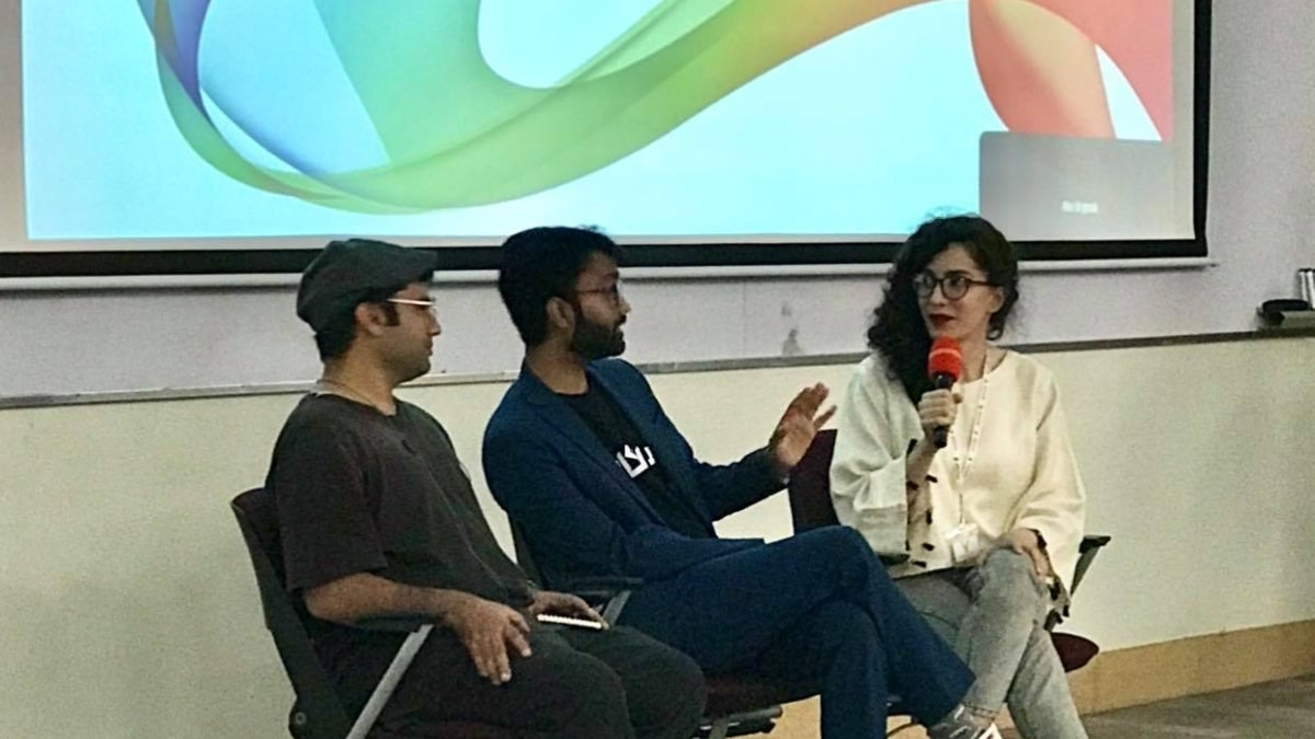 Panel discussion at Habib University. From right to left: Rasti Farooq (co-producer), Arafat Mazhar (director), Haseeb Rehman (animator)