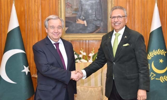 UN Secretary General Antonio Guterres with President Arif Alvi after their meeting. — APP