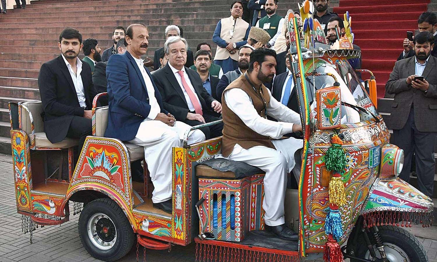 Guterres in a decked out rickshaw at the Lahore Fort. — APP