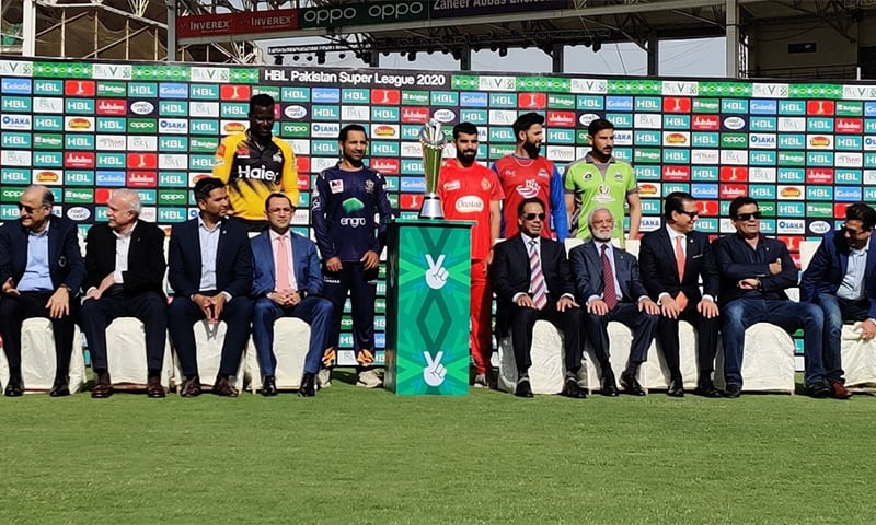 PSL team captains and PCB officials pose with the trophy. — Photo: Twitter