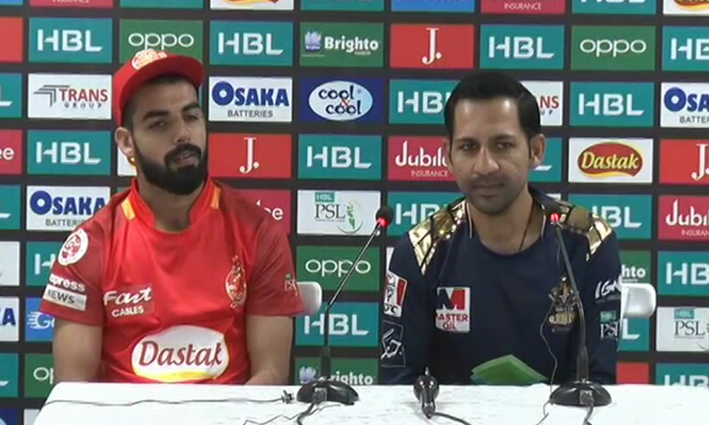 Islamabad United captain Shadab Khan and Quetta Gladiators captain Sarfaraz Ahmed address the media on Wednesday. The teams will play their first match in the Pakistan Super League 2020 tomorrow.