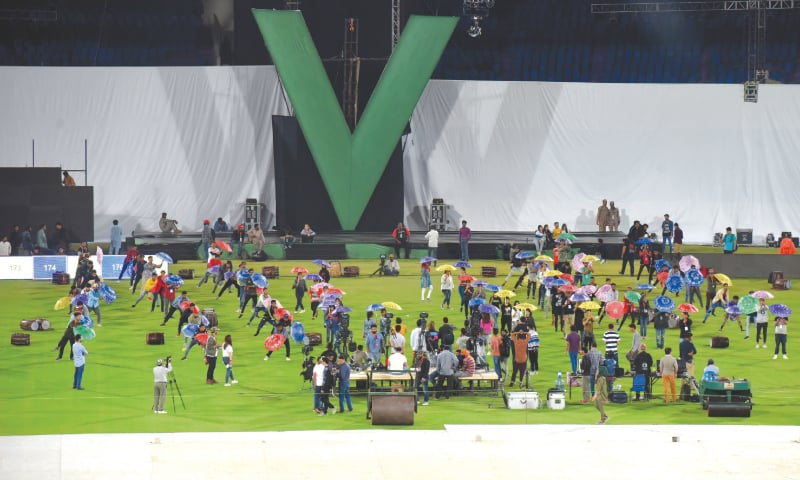 A GENERAL view of the dress rehearsal for the opening ceremony of the Pakistan Super League at the National Stadium on Wednesday.—White Star