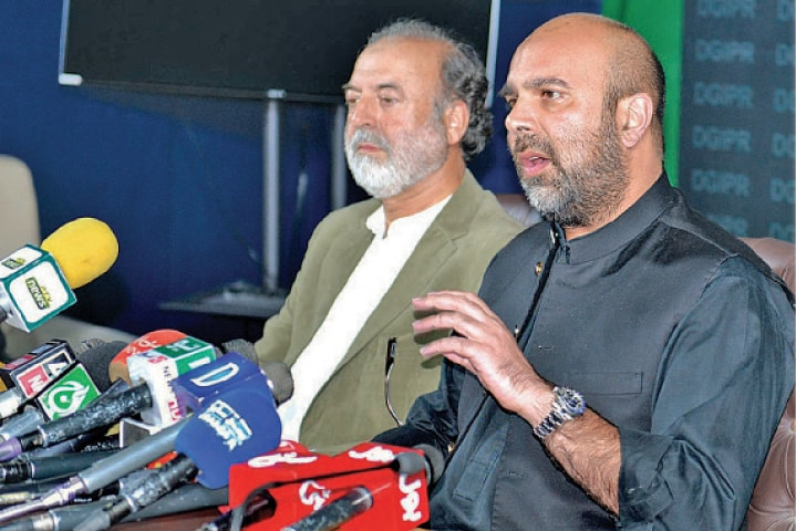 KP Finance Minister Taimur Saleem Jhagra addresses a press conference in Peshawar on Wednesday. — APP