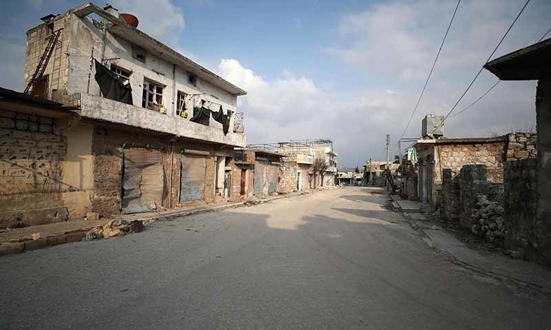 A picture taken on February 19 shows an empty street in the town of Ihsim in the southern countryside of Idlib.  — AFP