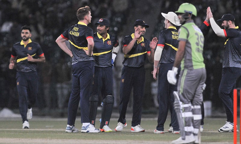 The club played their first match against Pakistan Super League (PSL) franchise Lahore Qalandars on Feb 14 at Gaddafi Stadium, Lahore. The touring team won the match by four wickets. — Photo courtesy PCB