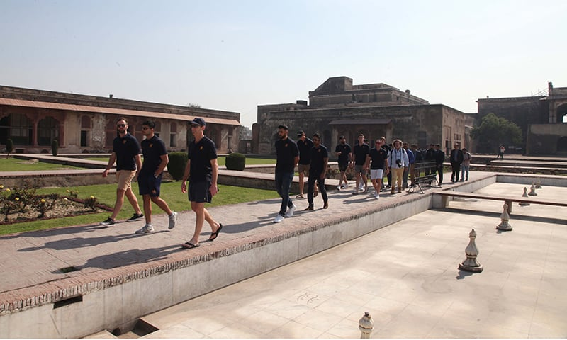The team on a visit to the Lahore Fort during their week-long tour of the country. — Photo courtesy PCB
