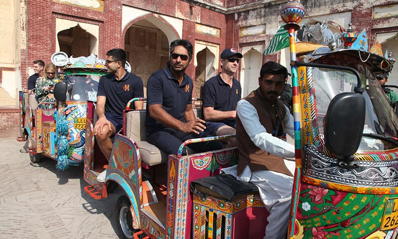"The Marylebone Cricket Club (MCC) in a rickshaw in Lahore.  The team's captain Kumar Sangakkara said that ""the message we take back is that Pakistan is a great place to tour."" — Photo Courtesy PCB"