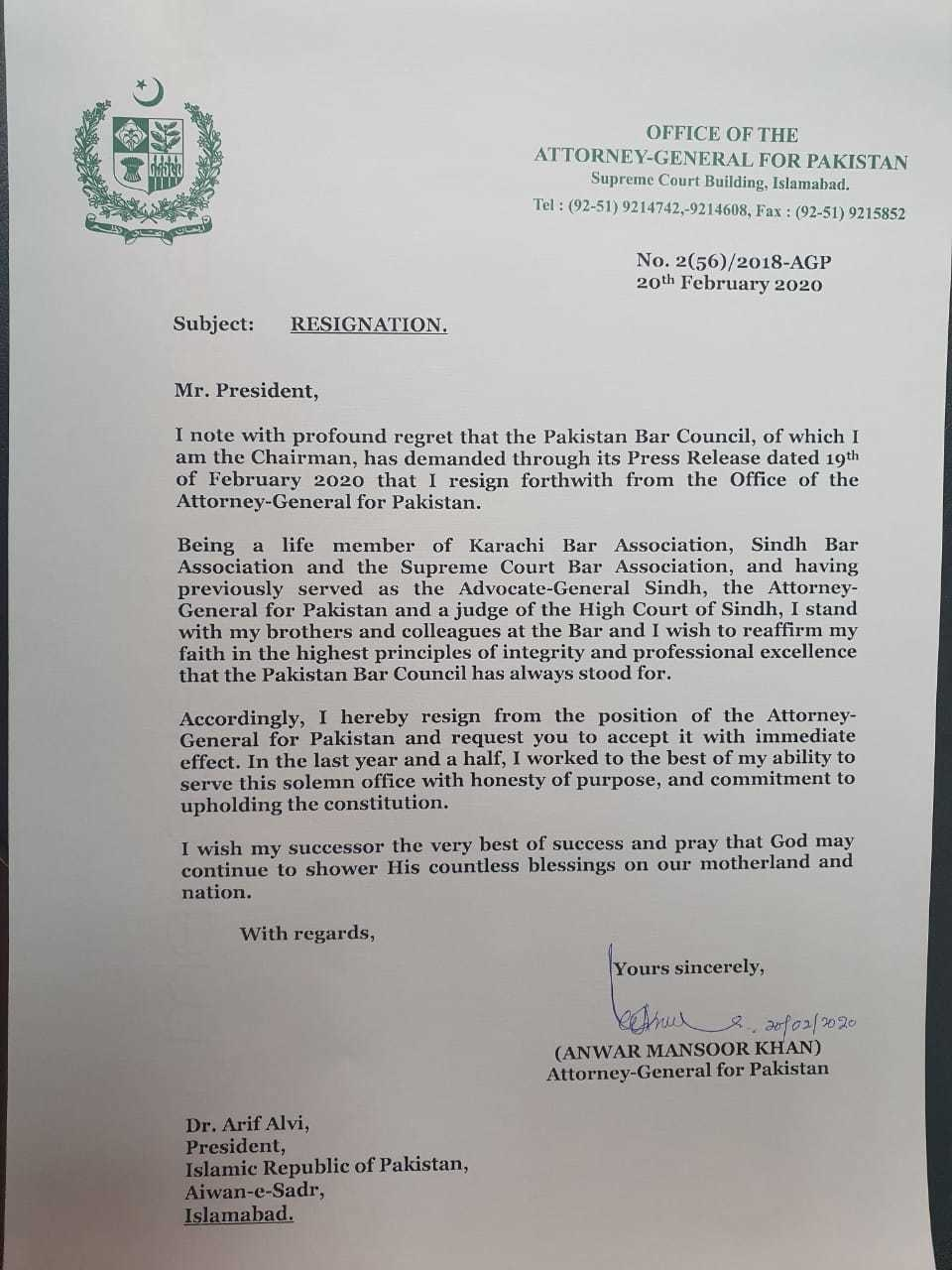 A copy of Attorney General of Pakistan Anwar Mansoor Khan's resignation letter. — Provided by author