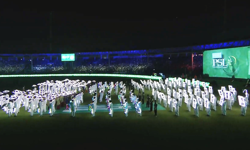 Performers decked in neon lights dazzle at the opening ceremony of the PSL 2020 opening ceremony. — DawnNewsTv