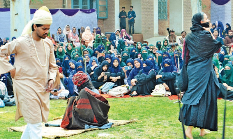 SAHIWAL: Actors perform a Punjabi play at the Government Postgraduate College in connection with the International Mother Language Day. — Dawn
