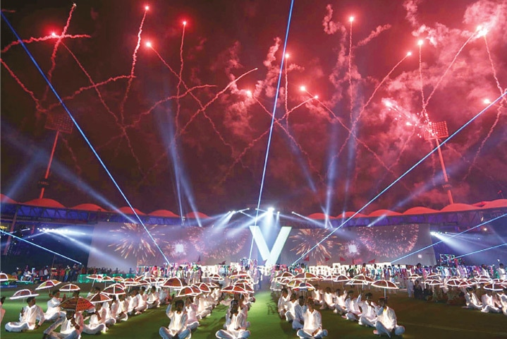 A GENERAL view as fireworks explode during the opening ceremony of the Pakistan Super League at the National Stadium on Thursday.—PPI